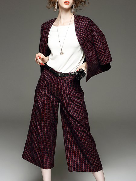 Burgundy Cotton-blend Two Piece Work Checkered/Plaid Suits And Separate