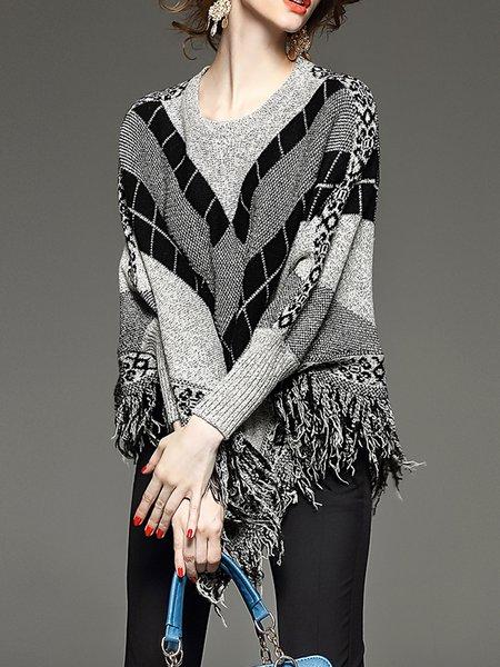 Gray Geometric Long Sleeve Sweater