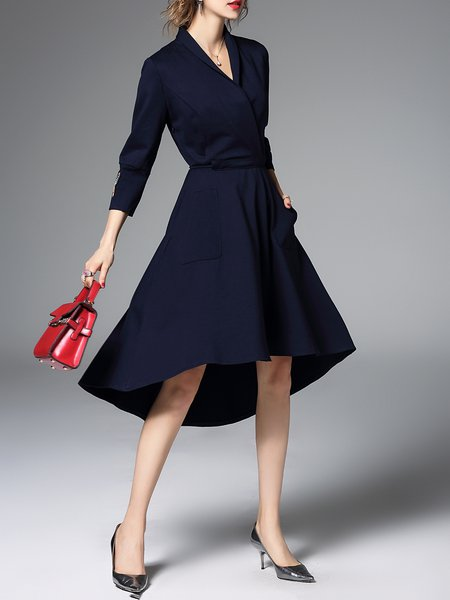 Navy Blue Cocktail Cotton-blend Midi Dress
