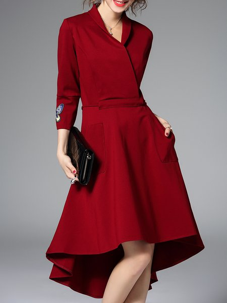 Red Pockets Plain 3/4 Sleeve V Neck Midi Dress
