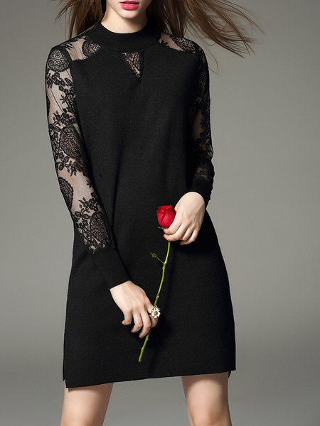 Black Shift Casual Plain Sweater Dress