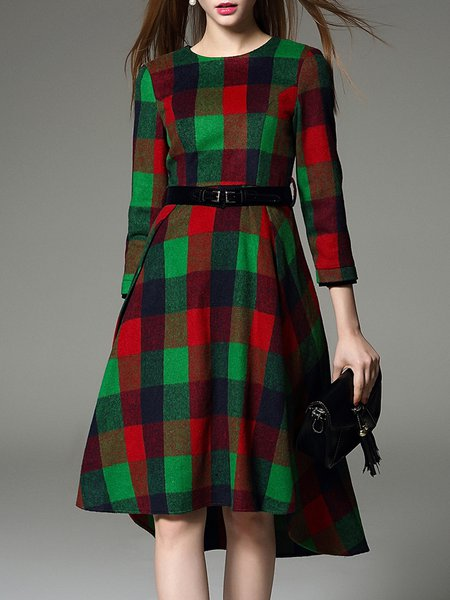 Wool Blend 3/4 Sleeve Plaid Midi Dress with Belt