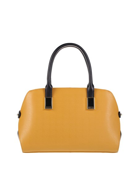 Yellow Simple Solid Cowhide Leather Top Handle