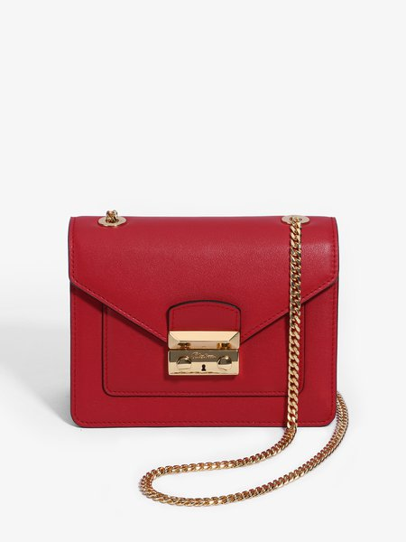 Red Push Lock Cowhide Leather Casual Crossbody