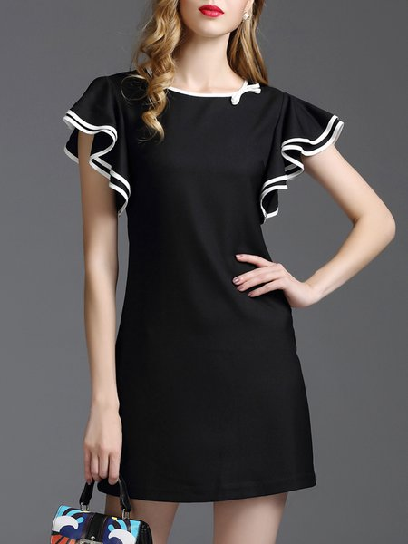 A-line Simple Plain Frill Sleeve Polyester Mini Dress