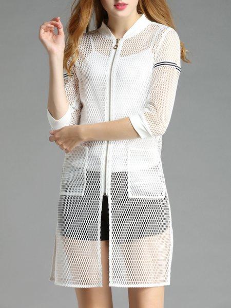 White H-line 3/4 Sleeve Pierced Coat