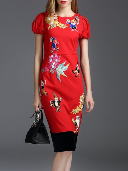 Embroidered Elegant Balloon Sleeve Crew Neck Midi Dress