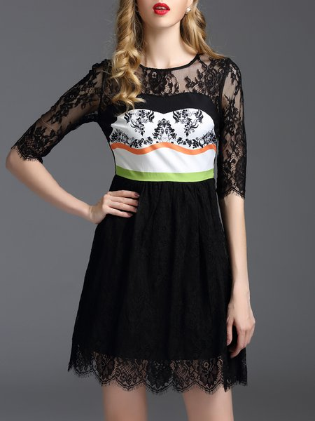 Black Printed A-line Girly Crew Neck Mini Dress
