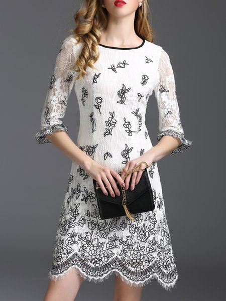 White Lace A-line Girly Floral Mini Dress