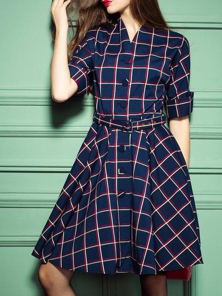 Dark Blue Buttoned A-line Half Sleeve Surplice Neck Checkered/Plaid Midi Dress