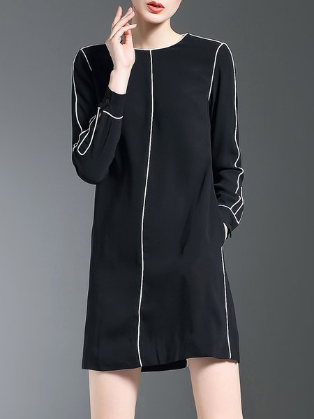 Simple Jersey Crew Neck Long Sleeve Mini Dress
