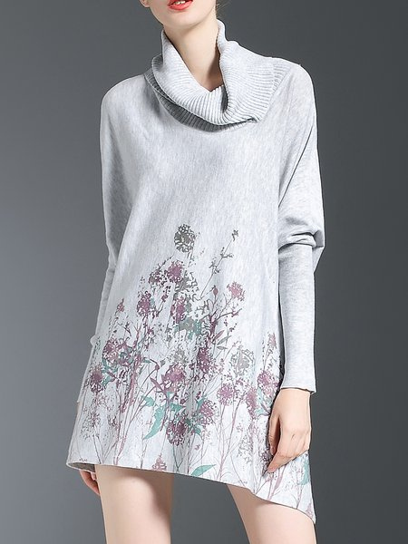 Gray Printed Statement Acrylic Sweater