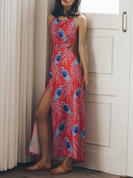 Red Beach Printed Slit Backless Maxi Dress