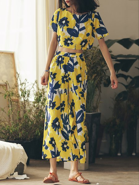 Yellow Floral Print Two Piece Beach  Jumpsuit