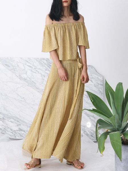 Yellow Pleated Half Sleeve Two Piece Linen Maxi Dress