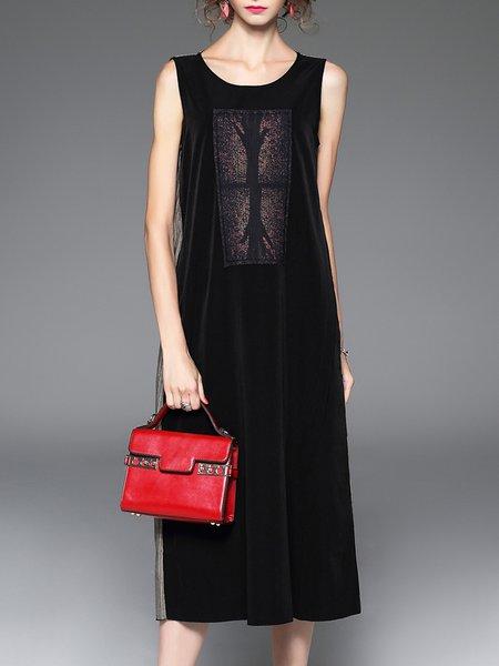 Black Shift Color-block Simple Crew Neck Midi Dress