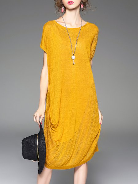 Yellow Casual Crew Neck Linen Midi Dress