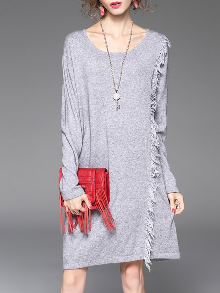Gray Casual Crew Neck Cashmere Plain Midi Dress