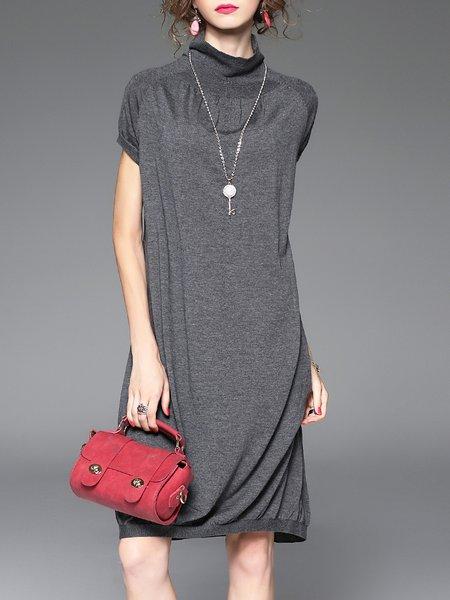 Short Sleeve Shift Casual Plain Midi Dress