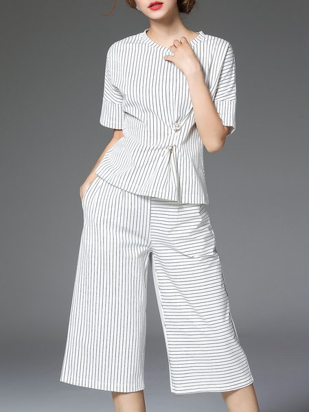 White Printed Short Sleeve Stripes Two Piece Jumpsuit
