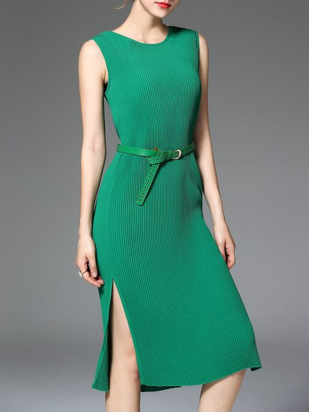 Green Elegant Crew Neck Midi Dress