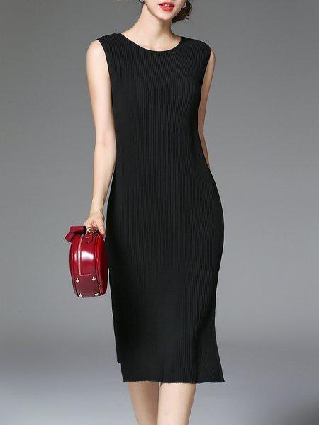 Sleeveless Crew Neck Elegant Midi Dress