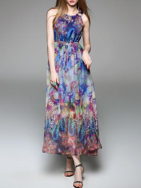 Multicolor Boho Animal Print Crew Neck Midi Dress