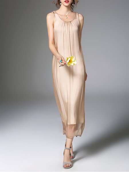 Apricot Silk Mesh Casual Midi Dress