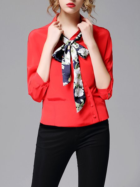 Red H-line Half Sleeve Casual Shirt Collar Plain Blouse