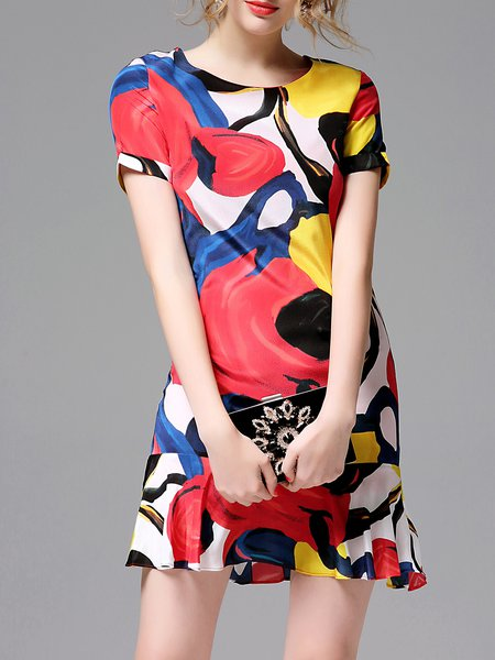 Sheath Short Sleeve Elegant Ruffled Crew Neck Mini Dress