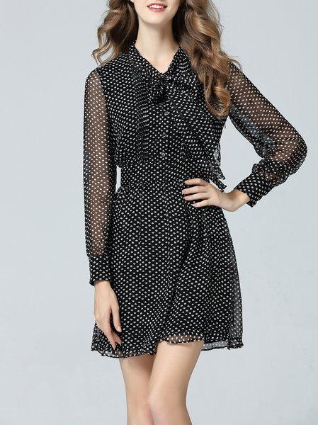 Long Sleeve Shirt Collar Silk Polka Dots Casual Mini Dress