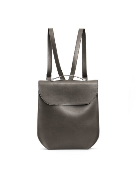 Gray Casual Calfskin Leather Fold-over Flat Top Backpack