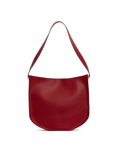Red Calfskin Leather Medium Shoulder Bag