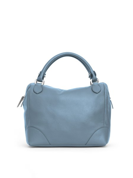 Blue Casual Zipper Calfskin Leather Crossbody