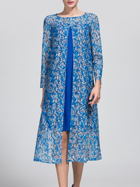 Blue Two Piece Long Sleeve Polyester Midi Dress