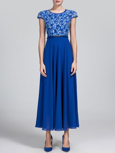 Blue Elegant Crew Neck Paneled Floral Midi Dress
