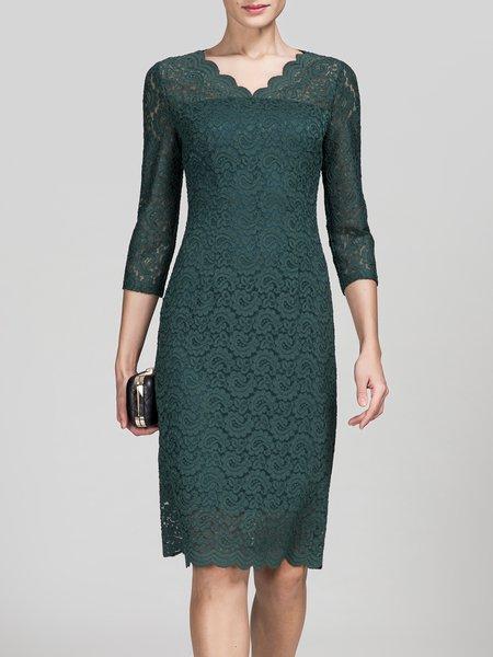 Elegant Layered Scalloped 3/4 Sleeve Sheath Midi Dress