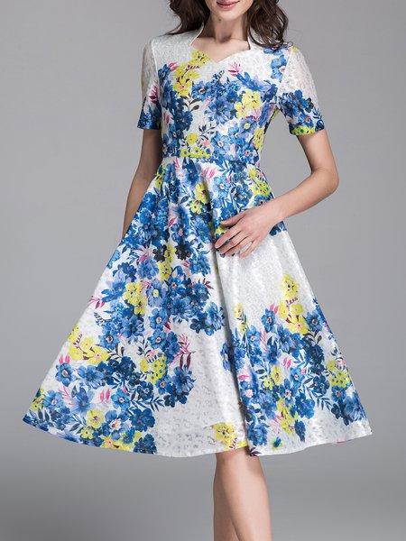 A-line V Neck Vintage Short Sleeve Floral Midi Dress