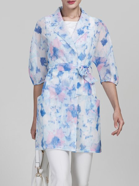 Multicolor Lapel Half Sleeve Floral Coat with Belt