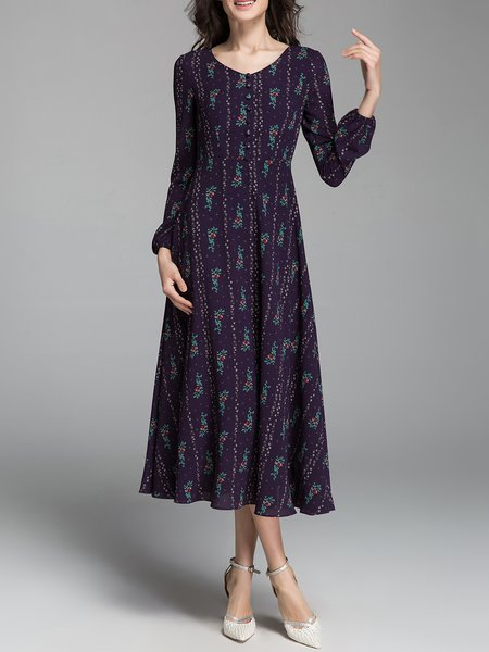 Purple Casual Polyester Midi Dress