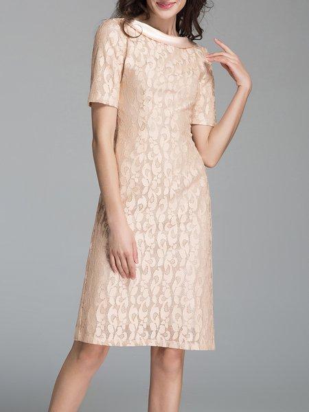 Short Sleeve Bateau/boat Neck Casual Zipper Floral Midi Dress