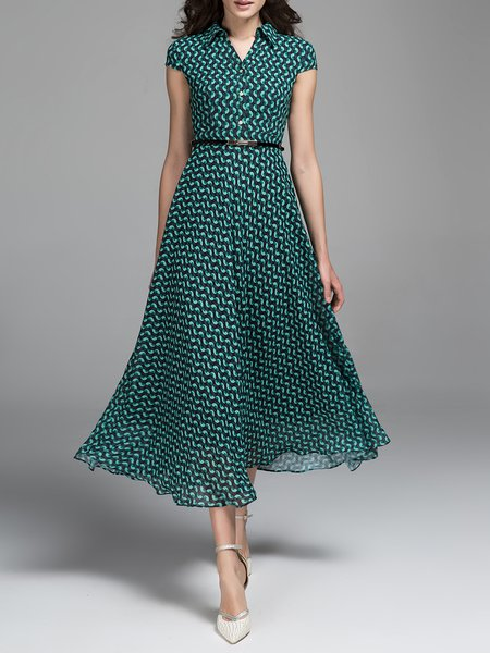 Green Casual Swing Printed Midi Dress