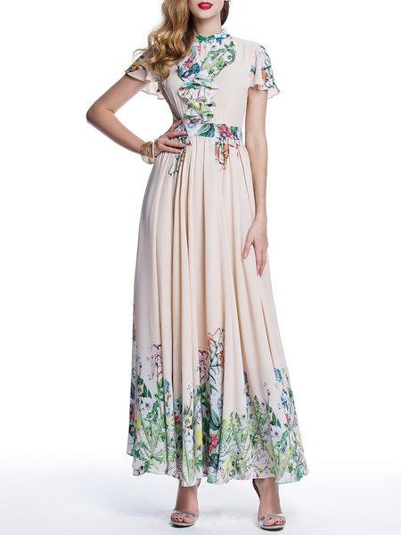 Pink Elegant A-line Maxi Dress