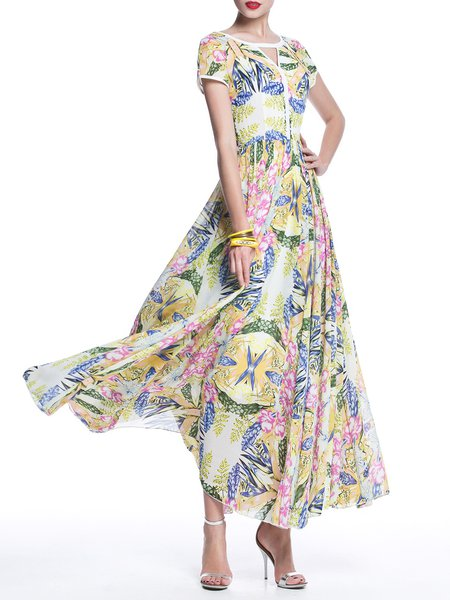 Yellow Floral Boho Floral-print Chiffon Maxi Dress