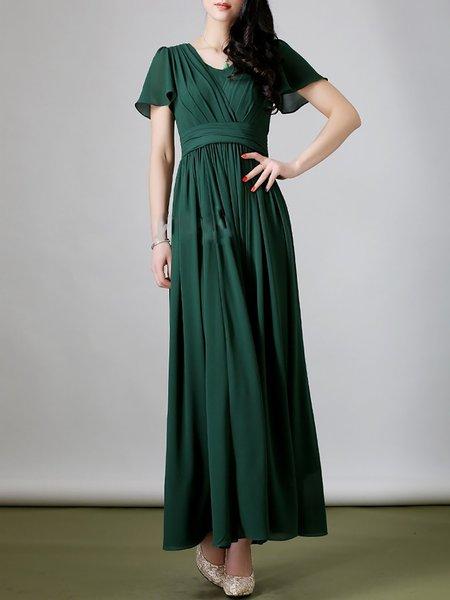 Folds Boho Frill Sleeve Maxi Dress