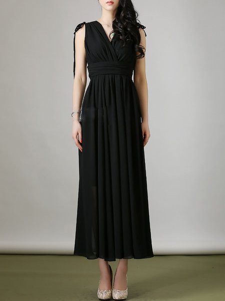 Black Chiffon V Neck Short Sleeve Maxi Dress