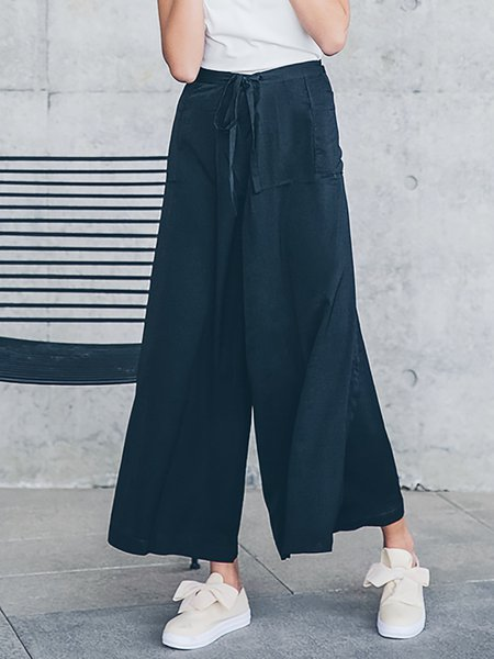 Black Polyester Pockets Work Wide Leg Pants