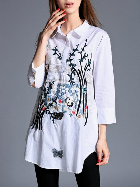 Polyester Graphic 3/4 Sleeve Embroidered Work Blouse