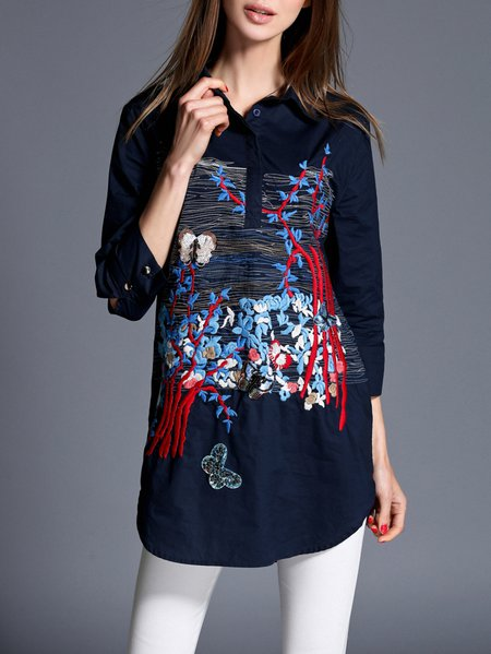 Dark Blue Embroidered Shirt Collar Work Graphic Blouse