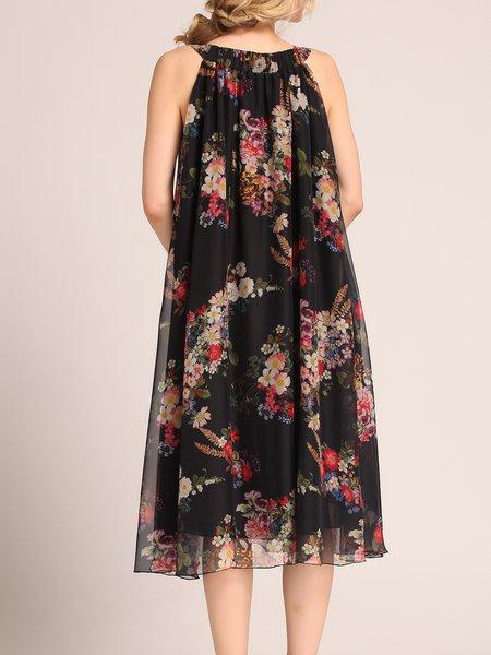 Black Swing Floral Crew Neck Sweet Mini Dress